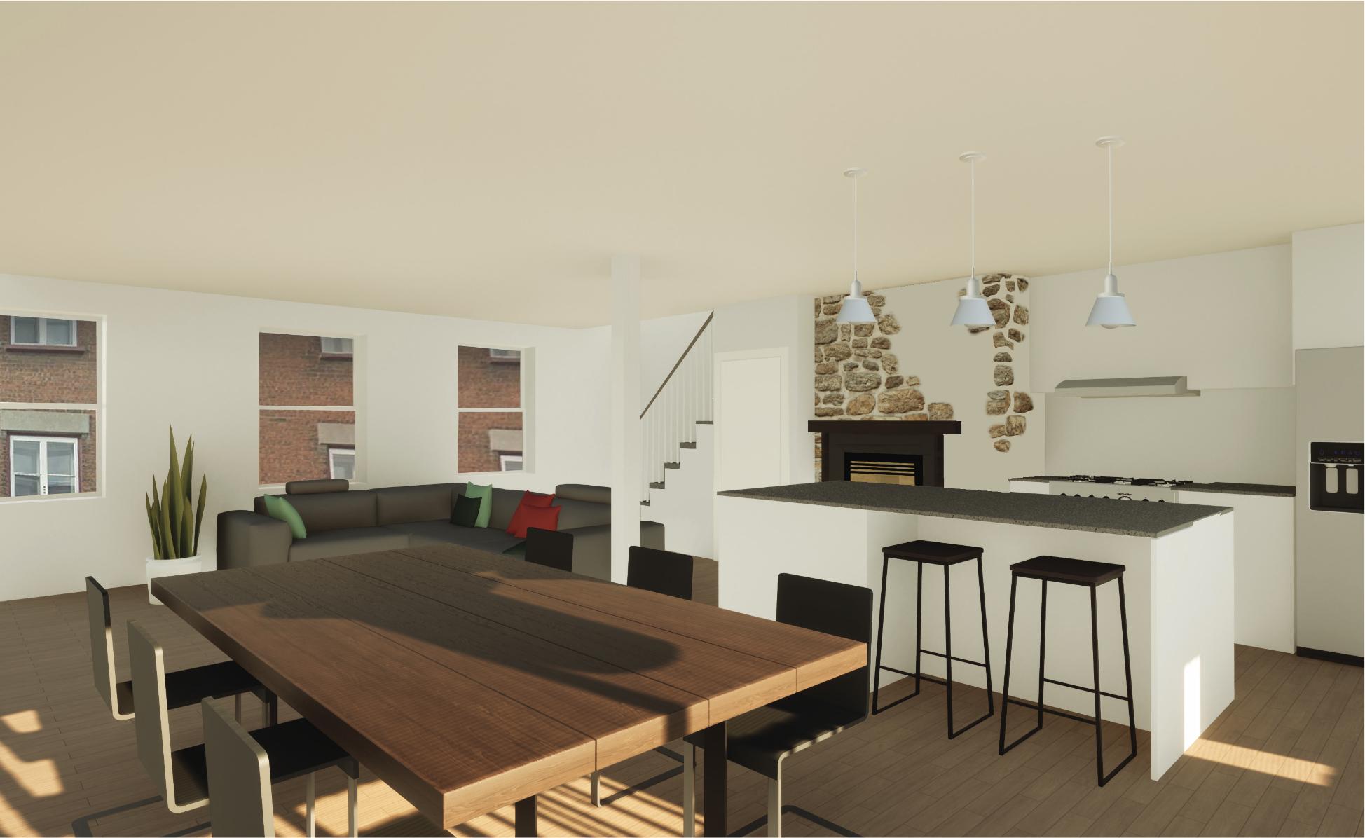 Photo 3 : 4 appartements dans maison ancestrale totalement rénovés, quartier St-Jean-Baptiste, prêts pour septembre, semi-meublés + Internet inclus